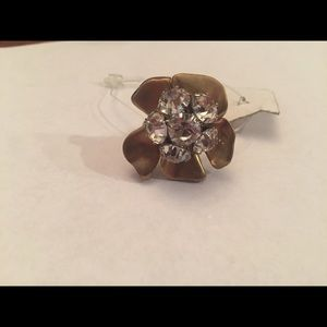 NWT J. Crew flower crystal ring size 8